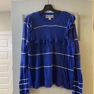 Wildfox blue ruffled distressed sweater - L
